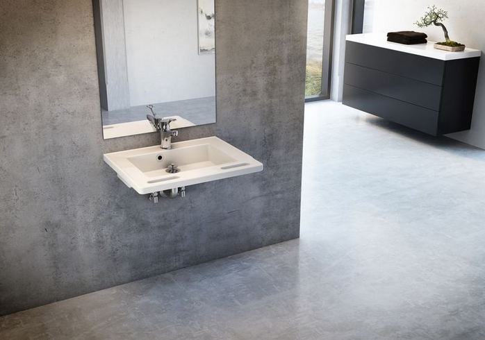Image of   Håndvask med greb i fronten - rektangulær eller seglformet