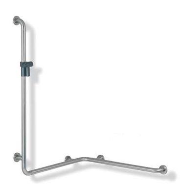 HEWI Range 805 Classic. L-formet brusehåndliste til hjørne i rustfrit stål.