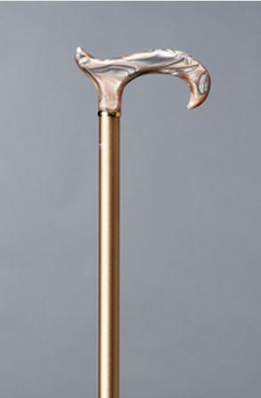 Billede af Elegant spadserestok i aluminium med champagnefarvet akrylhåndtag fra Gastrock