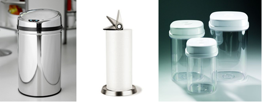 Tukan køkkenrulleholder, rimini affaldsspand og one hand box sæt